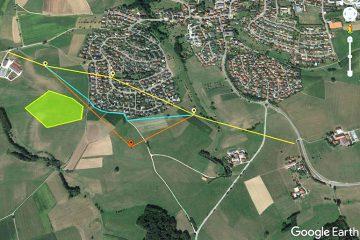 Trassenverschiebung aufgrund eines Feldlerchenbrutplatzes (fiktives Beispiel). Quelle: Google Earth